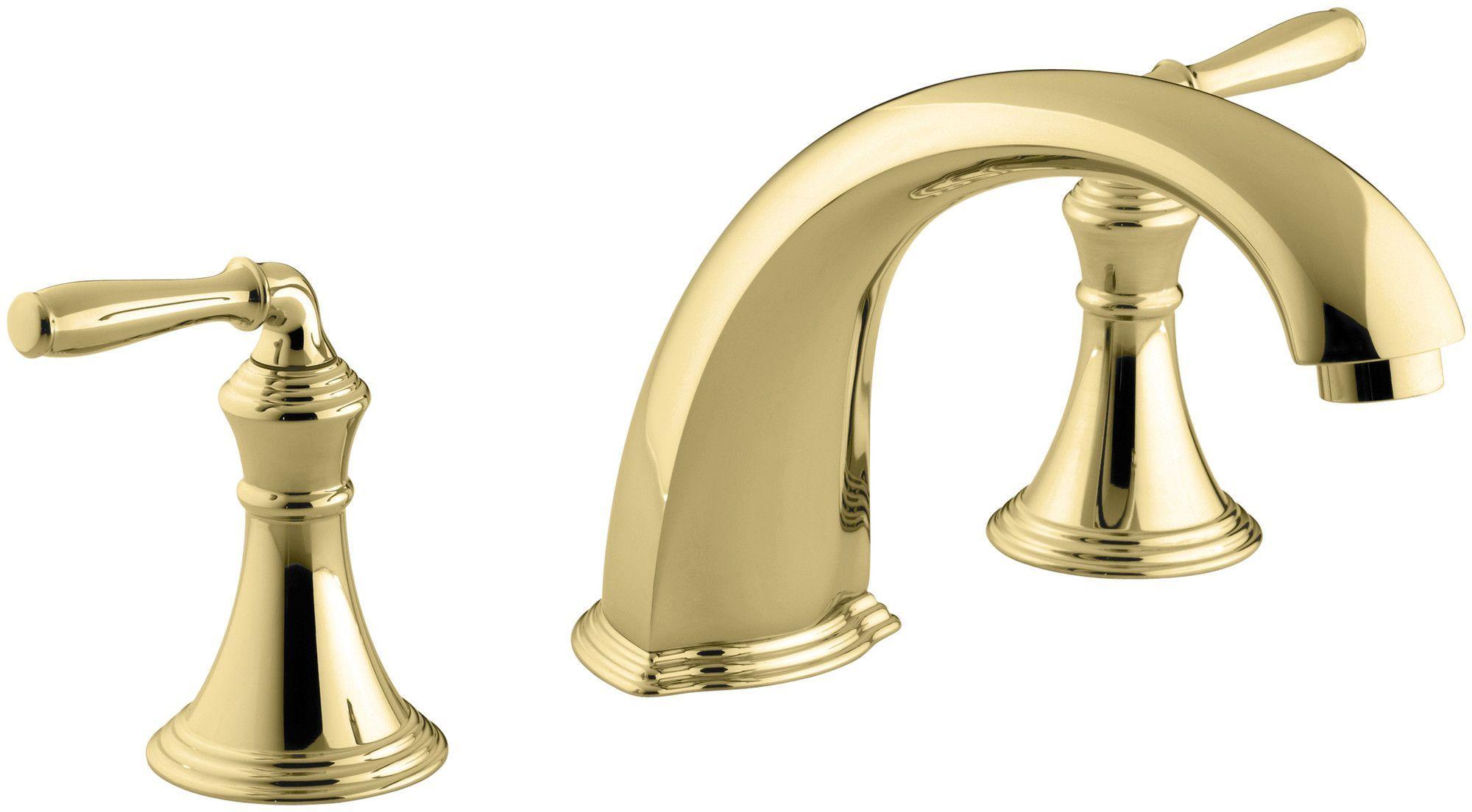 """Devonshire Deck-/Rim-Mount Bath Faucet Trim for High-Flow Valve with 9"""" Non-Diverter Spout and Lever Handles, Valve Not Included"""