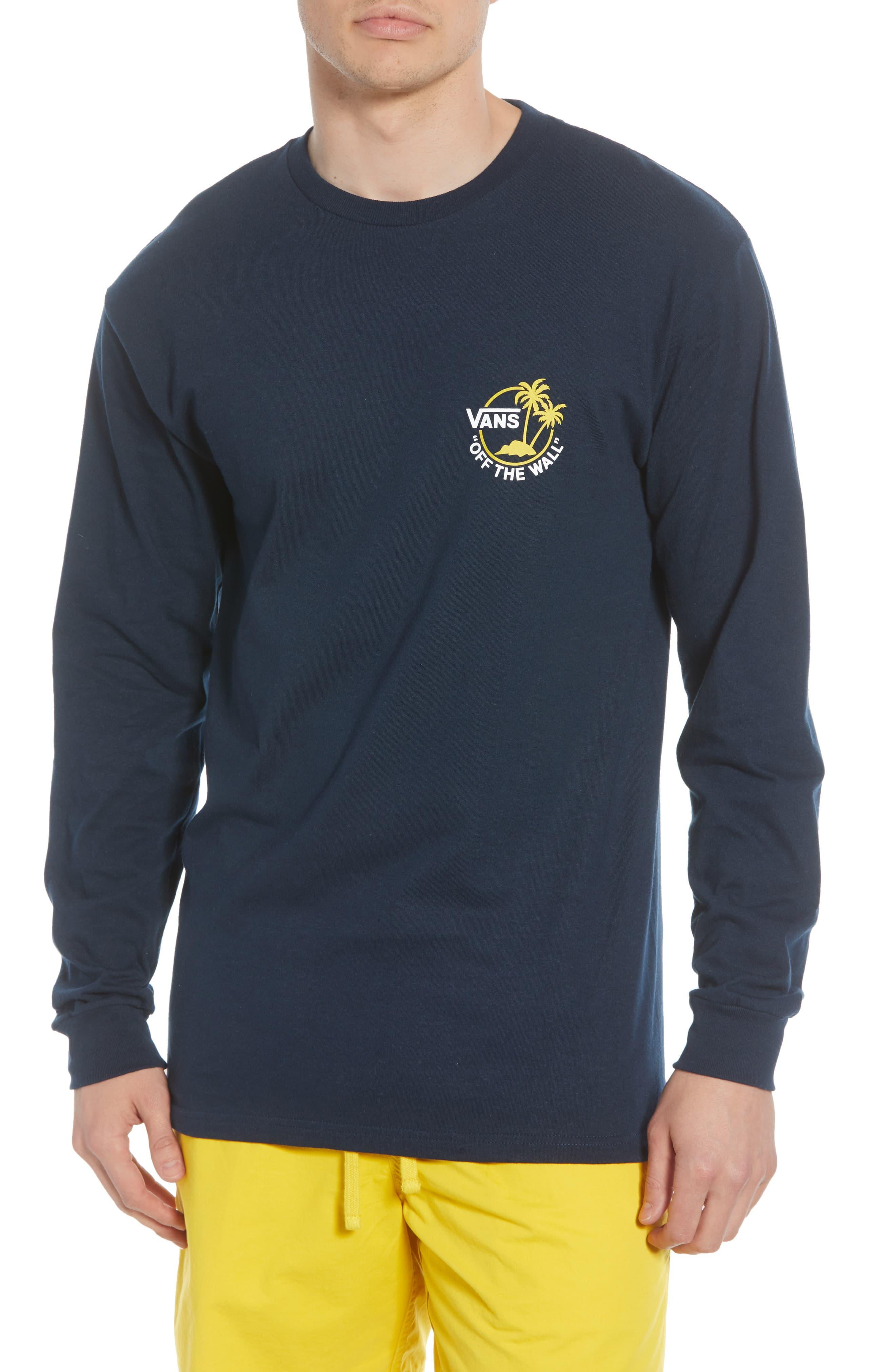 78413e15b Men's Vans Surf Palm Graphic Long Sleeve T-Shirt, Size Large - Blue ...