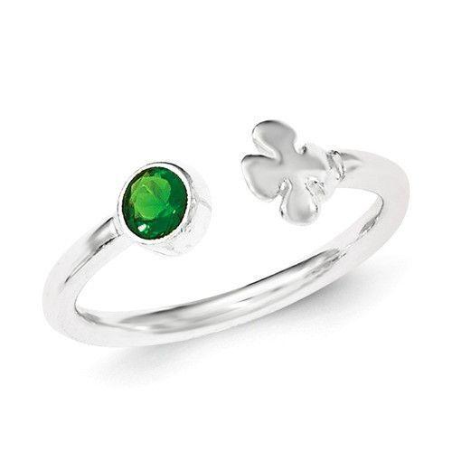 Sterling Silver Green Glass Bead 4-Leaf Clover Adjustable Ring