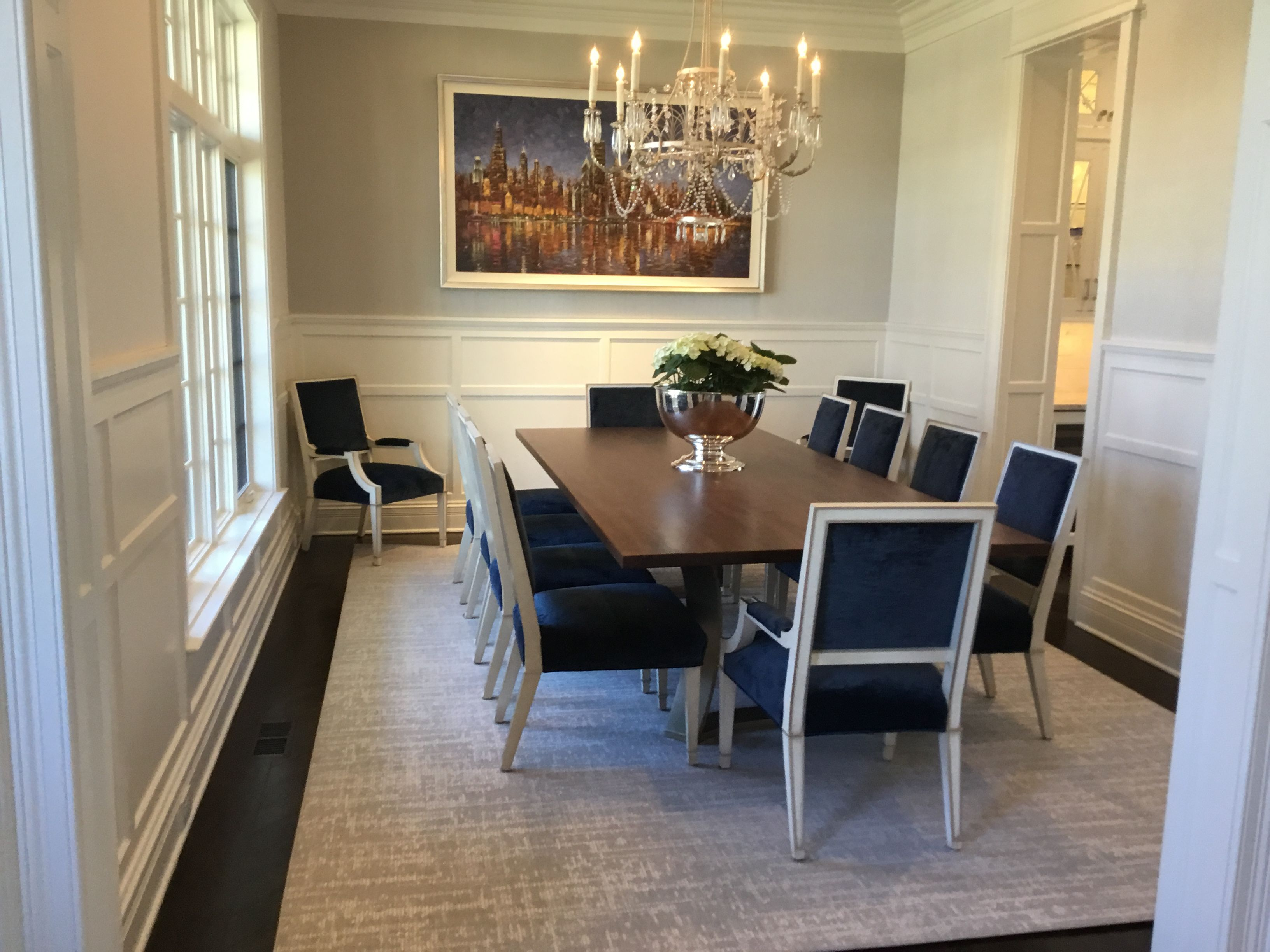 Grey And Navy Dining Room Wainscoting Area Rug Transitional