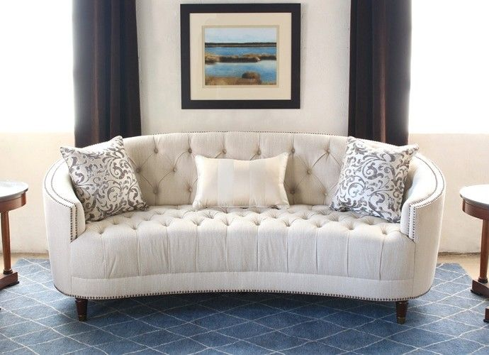 SF164: Curved Back Button Tufted Sofa With Nailhead Trim (2)
