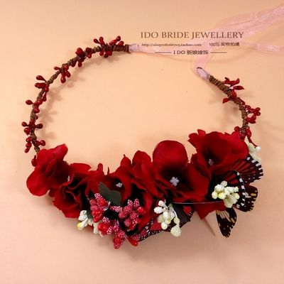Cheap accessories radio, Buy Quality accessories pipe directly from China accessories diy Suppliers: 	  		 Fabric Butterfly RED flower Crown. Wedding Bride Tiara Woman Girls Fashion Hair Accessories flower Wreat