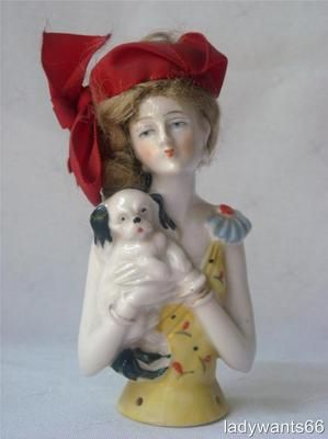 Large Art Deco German Porcelain Flapper Lady with Pekinese Pin Cushion Half Doll | eBay