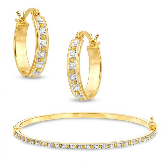 b683072d6 Diamond Fascination™ and Citrine Fascination™ Hoop and Bangle Set in Sterling  Silver with 18K Gold Plating
