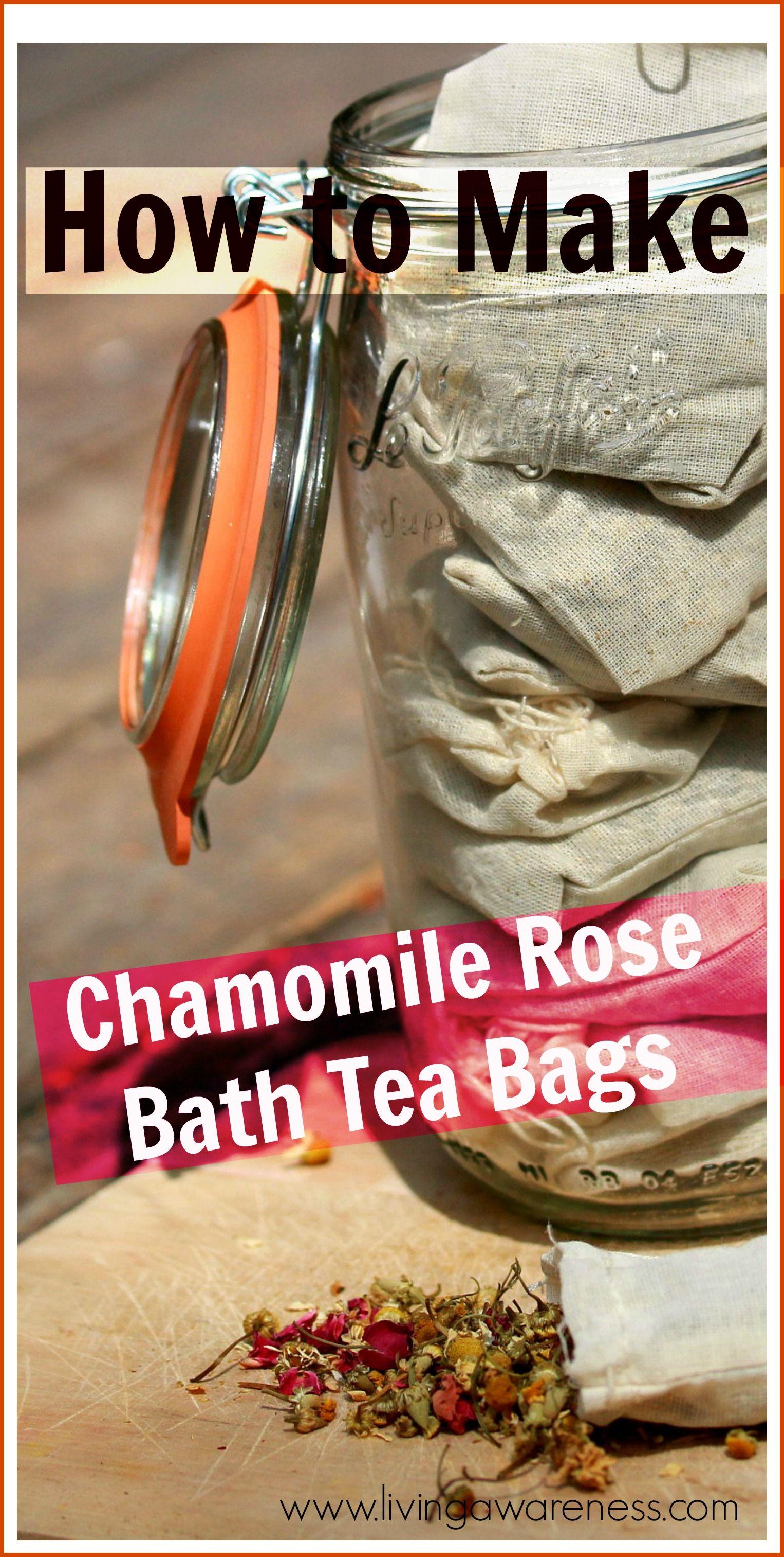 How to make herbal bath tea bags plus a rose chamomile
