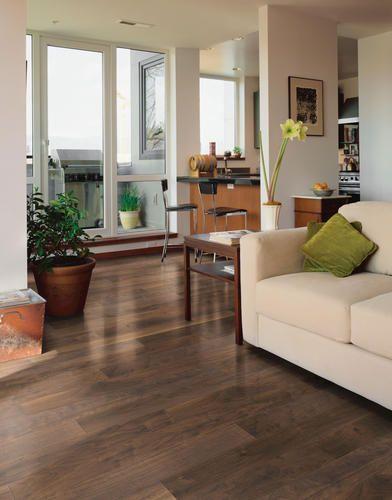 Modern Walnut Living Room Furniture: Shaw Panama Laminate Flooring In Contemporary Walnut