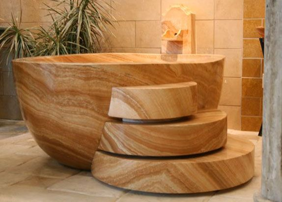 Hand Carved From Natural Stone, This Mahogany Onyx Bath Tub By Carved Stone  Creations Has An Awe Inspiring Wood Grain Like Pattern And Coloring And A  Bold ...