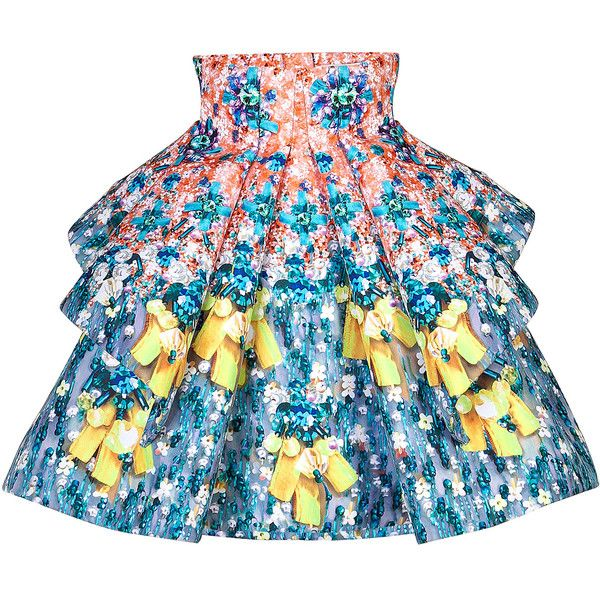 Mary Katrantzou Printed Flared Skirt ($1,270) ❤ liked on Polyvore featuring skirts, bottoms, multicolor, patterned skater skirt, print skirt, embellished skirt, skater skirt and print skater skirt