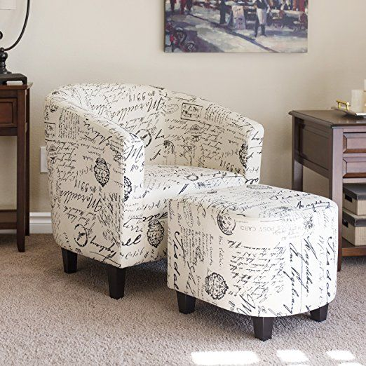 Best Choice Products Home Furniture Club Arm Chair W/ Ottoman Set  White  (ad)