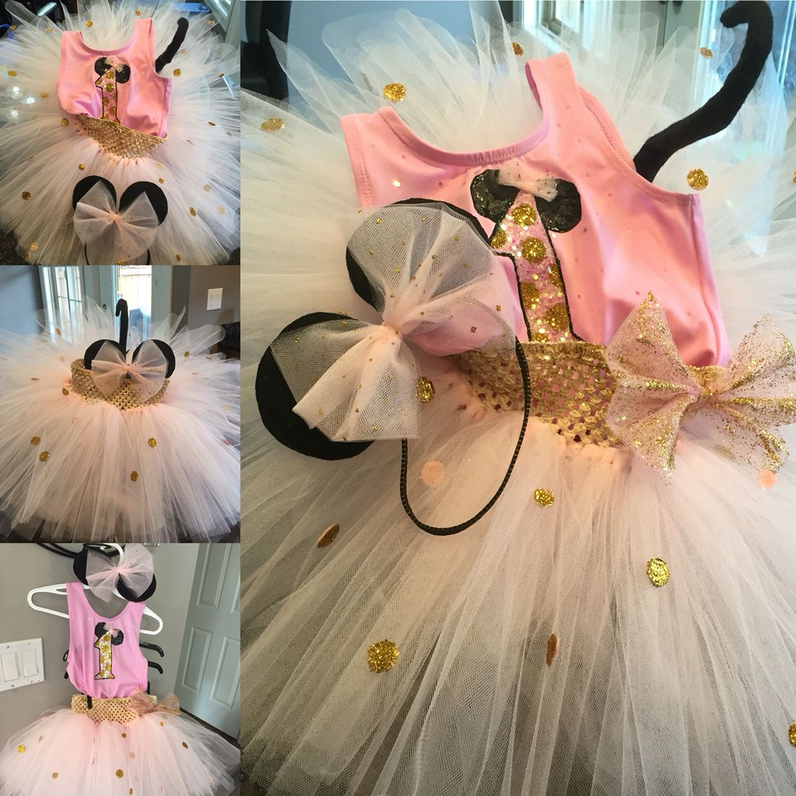 Pink and Gold Minnie Mouse Tutu for cake smash | Liyana\'s 1st ...