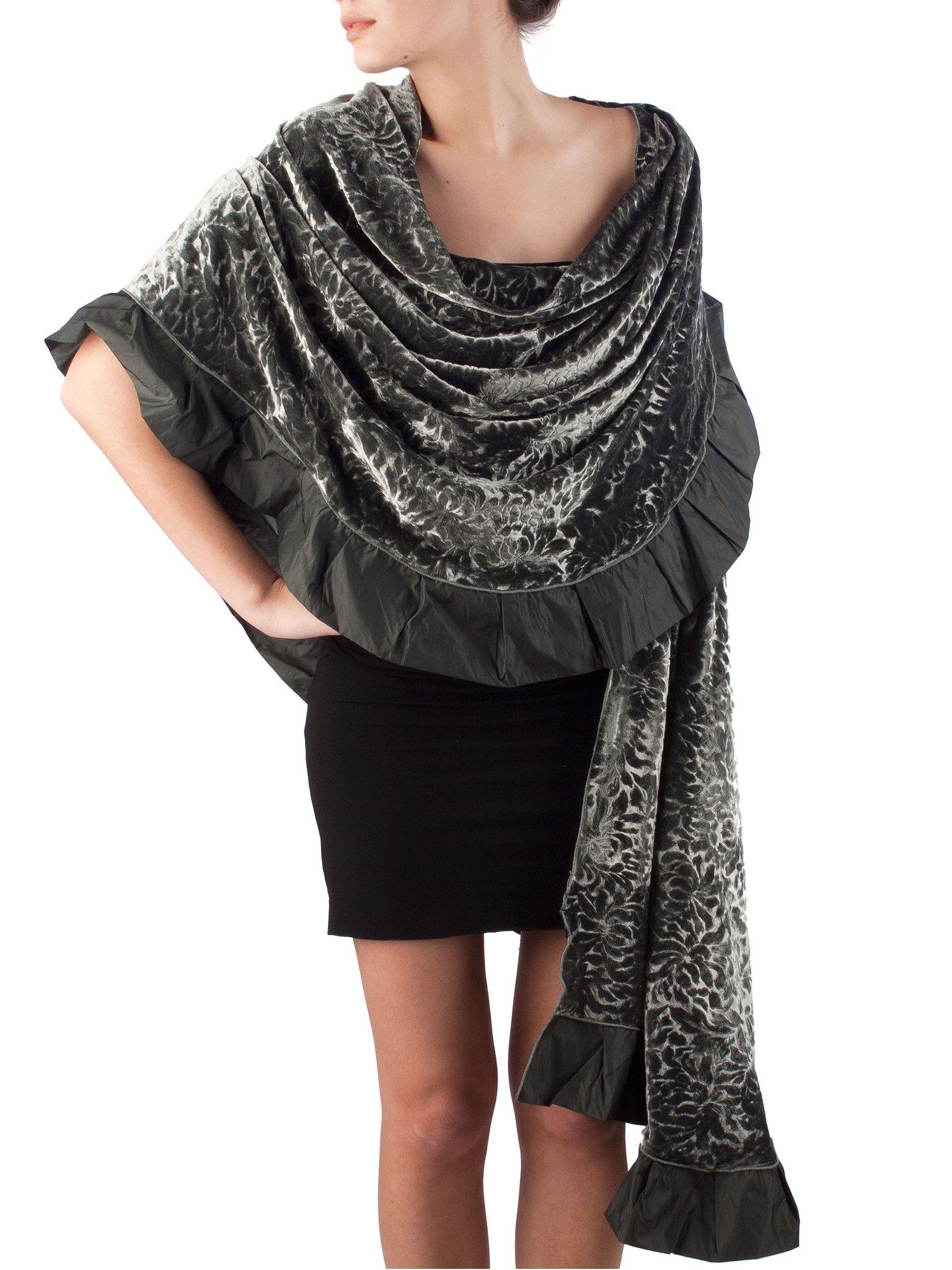 4629d62279d silk velvet formal evening wrap with ruffles