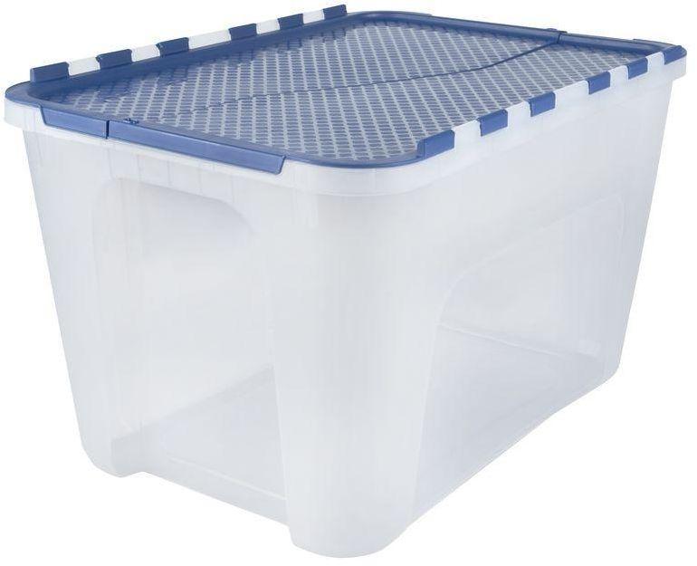 4 Pack Plastic Stackable 12 Gal Clear Storage Organizer Container Tote Box Bins Hdx Tote Storage Storage Bin Storage