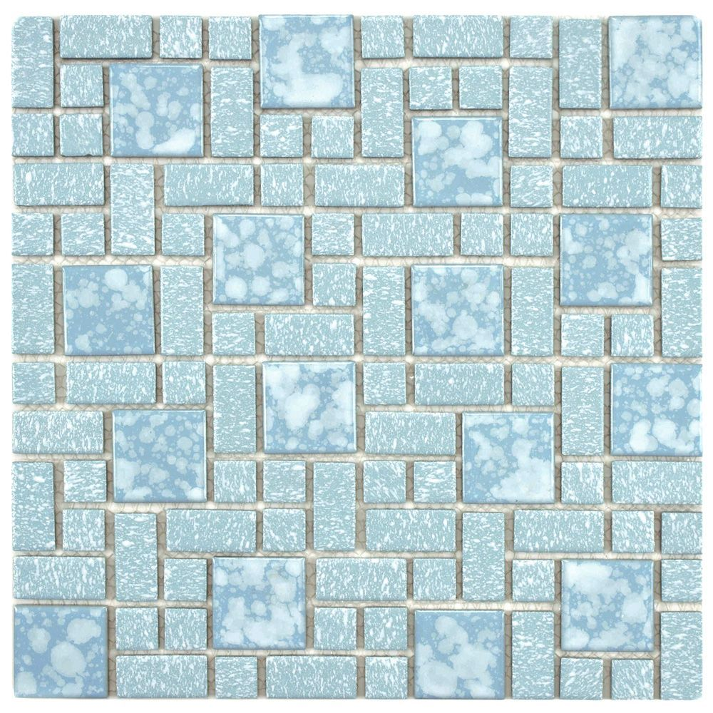 The Merola Tile University Blue 11 3 4 Inch X 11 3 4 Inch X 5 Mm Porcelain Mosaic Tile Is Reminiscent Of Traditional Multi Texture An Mosaic Tiles Ceramic Floor Tiles Tiles