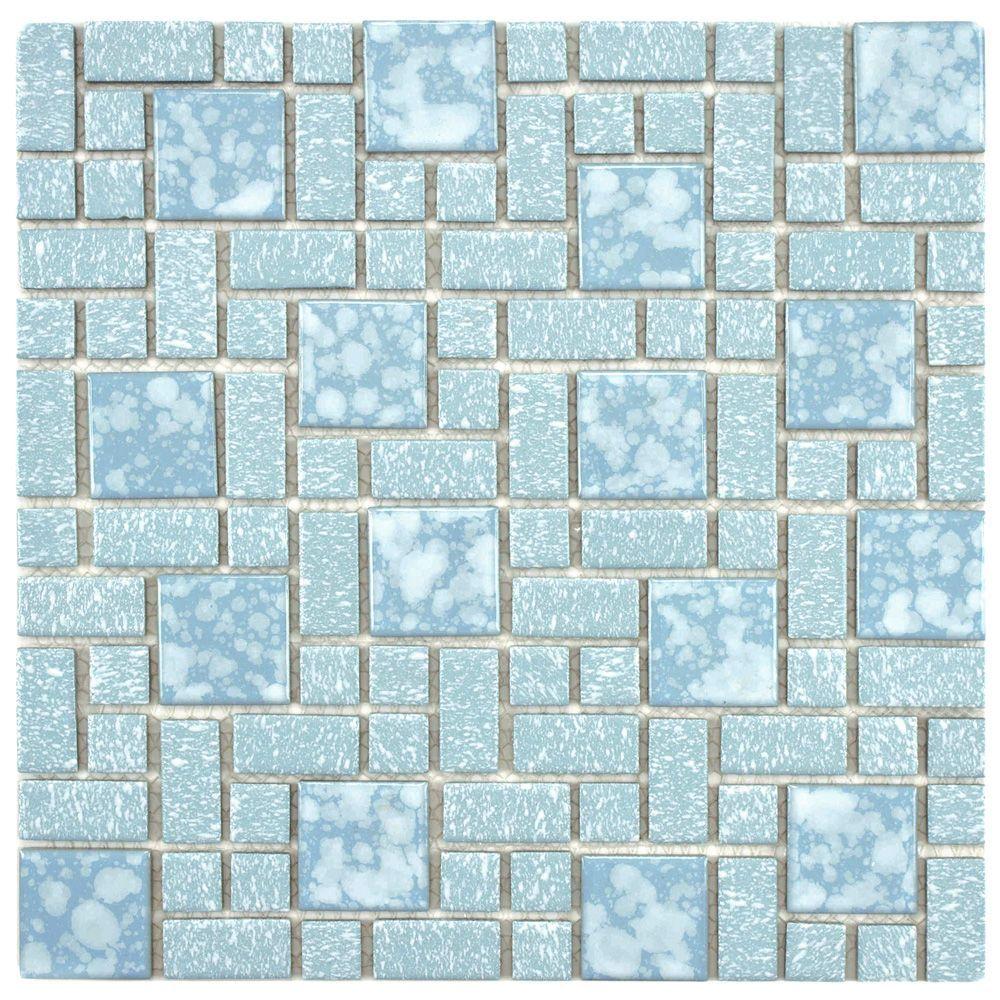 The Merola Tile University Blue 11 3 4 Inch X 11 3 4 Inch X 5 Mm Porcelain Mosaic Tile Is Reminiscent Of Traditional Multi Texture An Mosaic Tiles Ceramic Floor Tiles Tiles