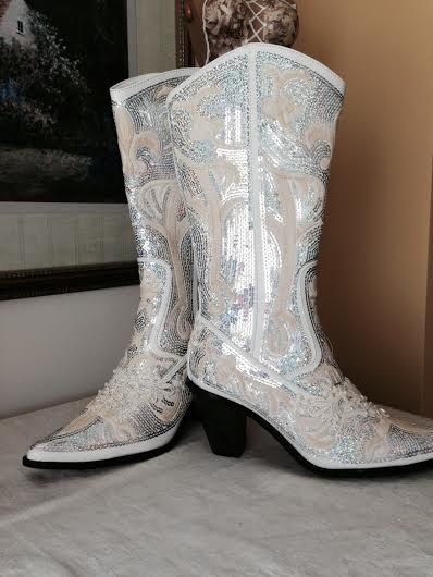 04a9302e92e58 Bling Boot Ivory Bridal Boot Cowgirl Country Wedding Beaded Prom ...