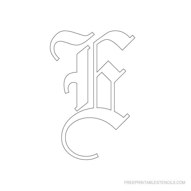 Worksheets Letter E Cursive Stencil Printable printable old english alphabet stencil e crafts pinterest e