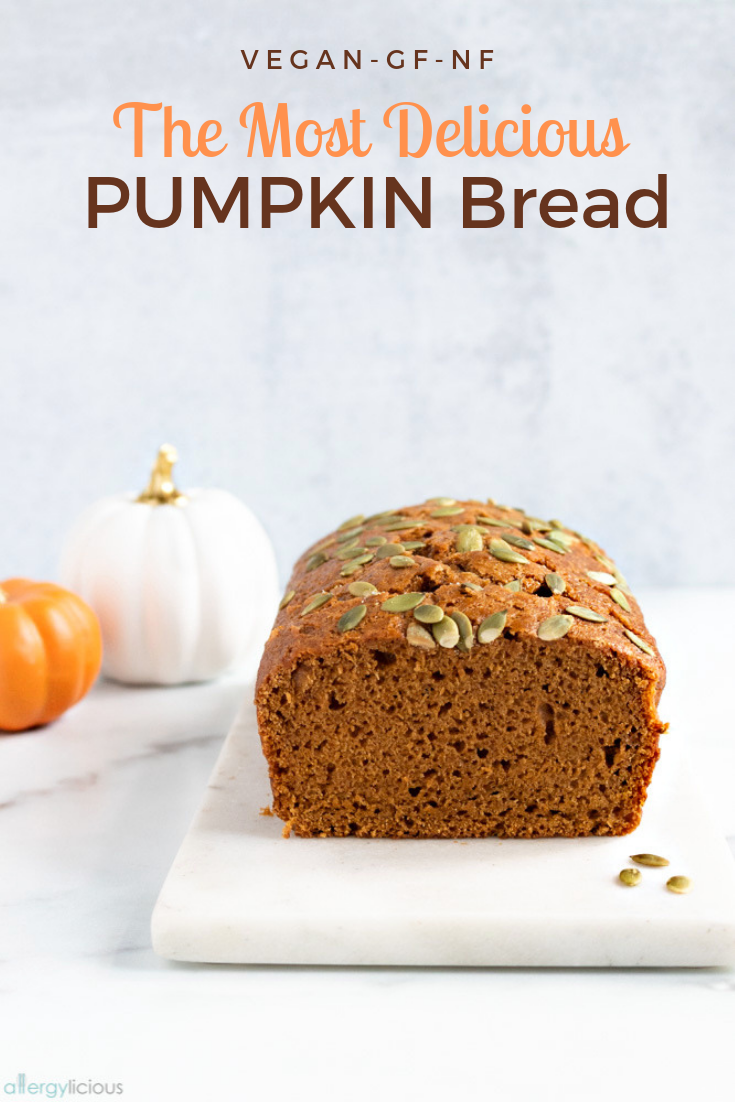 Easy Vegan Pumpkin Bread Filled With Pumpkin Puree Pumpkin Pie Spice And Topped With Crunchy Pumpkin Seeds It Vegan Pumpkin Bread Vegan Pumpkin Pumpkin Bread
