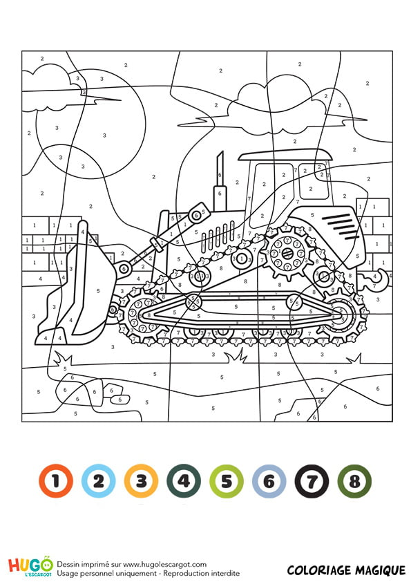 Coloriage magique CE1 un bulldozer Diagram, Print, Art