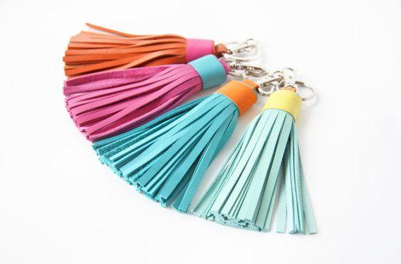 Cuir Tassel Leather Keychain Tassel Key Fob or par SmArtAnna
