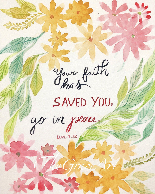 Christian art watercolor print bible verse art print