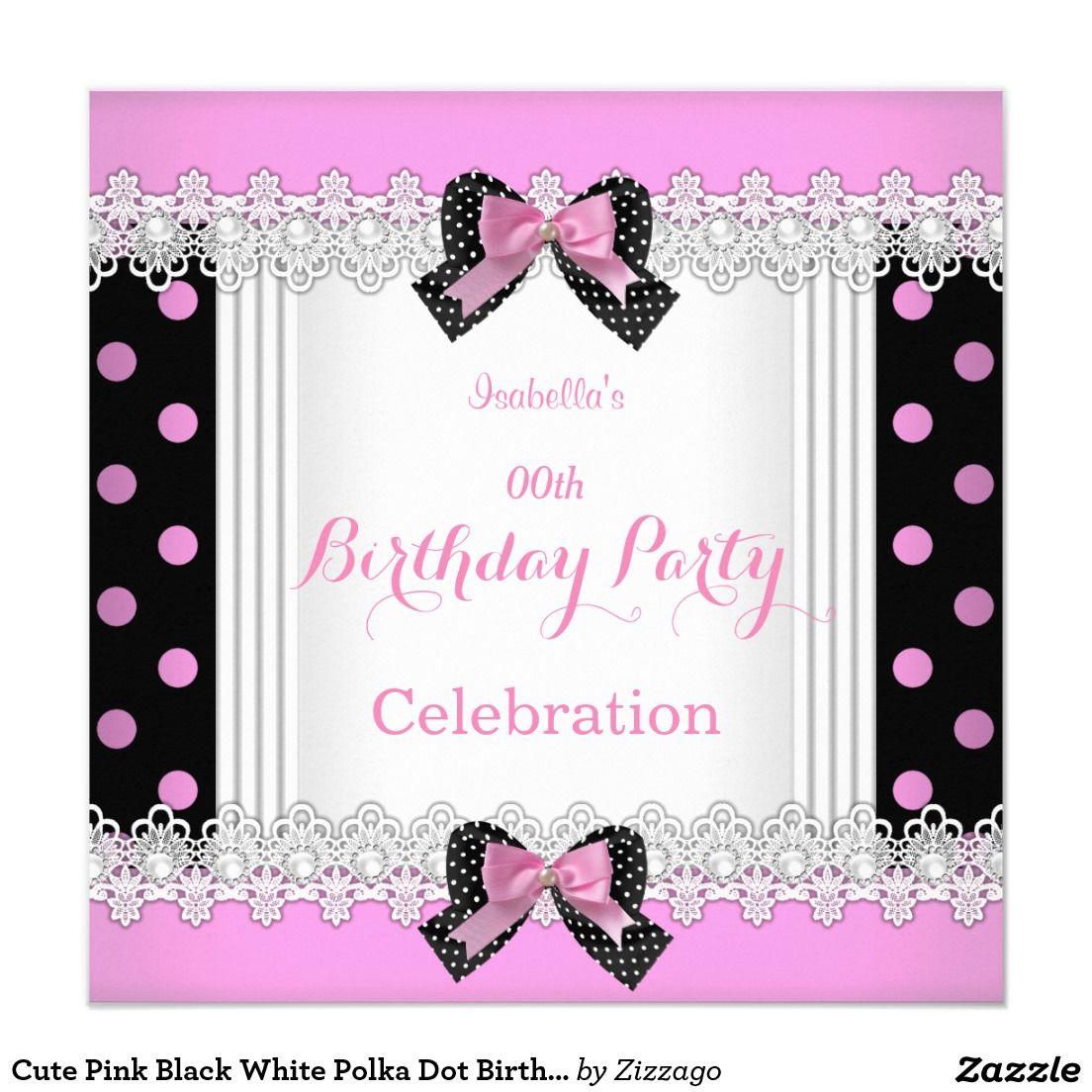 Cute Pink Black White Polka Dot Birthday Party Card | Polka dot ...