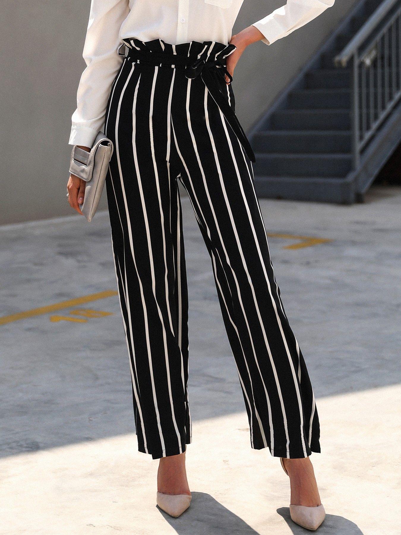Ladies Womens Linen Trousers Black Wide Legs Regular Fit Frill Trim Pant
