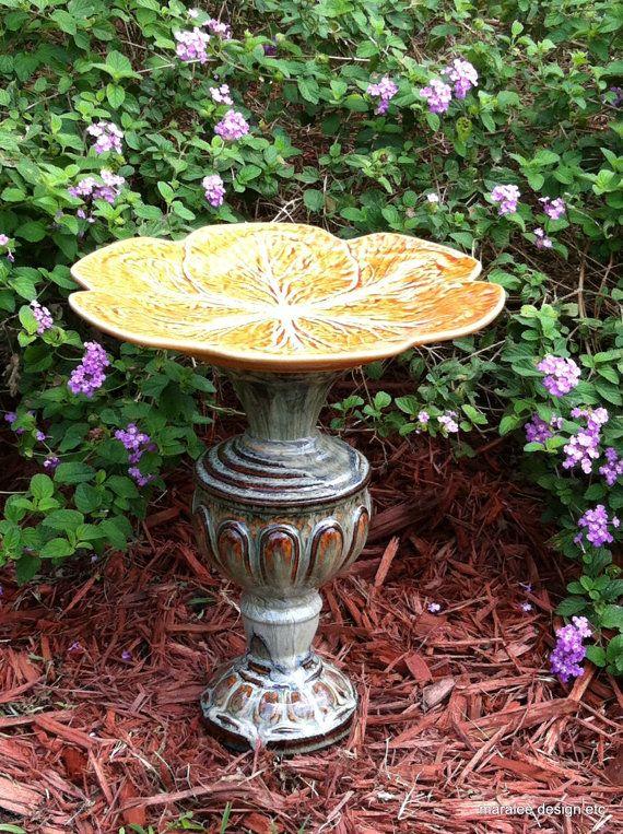 Decorative bird bath for your garden by MaraleeDesignEtc on Etsy, $30.00