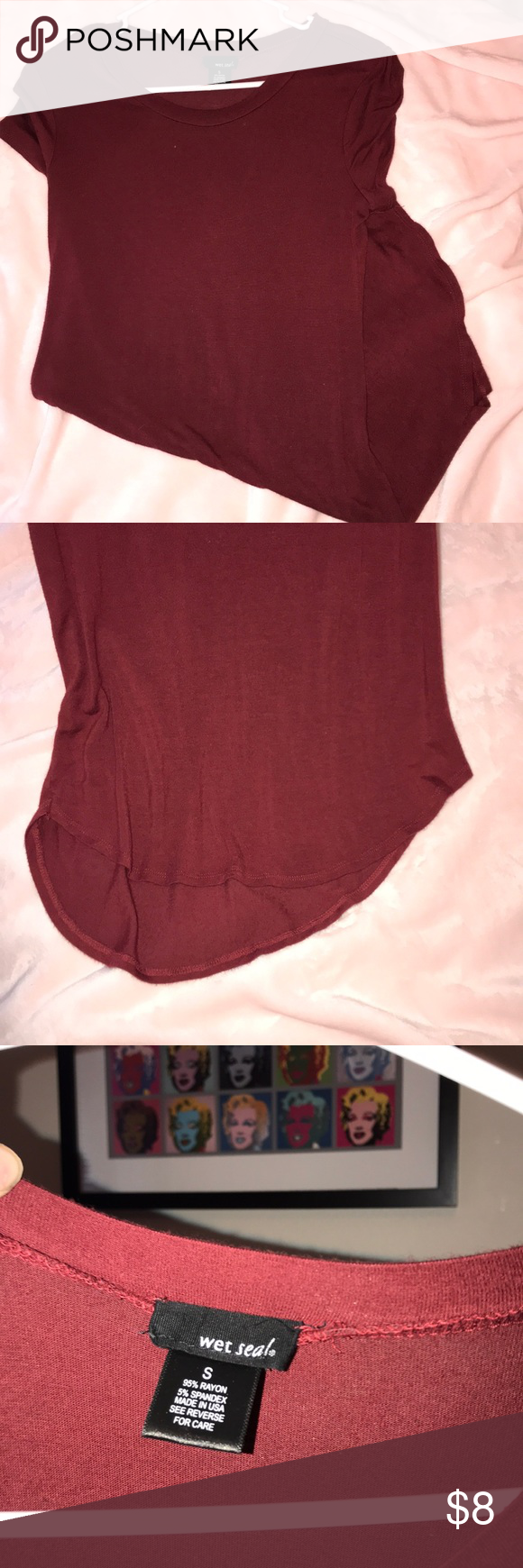 maroon short sundress high low smoke free home! form fitting and light summer dress!! only worn a few times Wet Seal Dresses High Low #shortsundress
