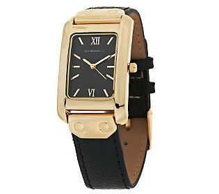 Isaac Mizrahi Live! Leather Strap Watch with Rectangle Case