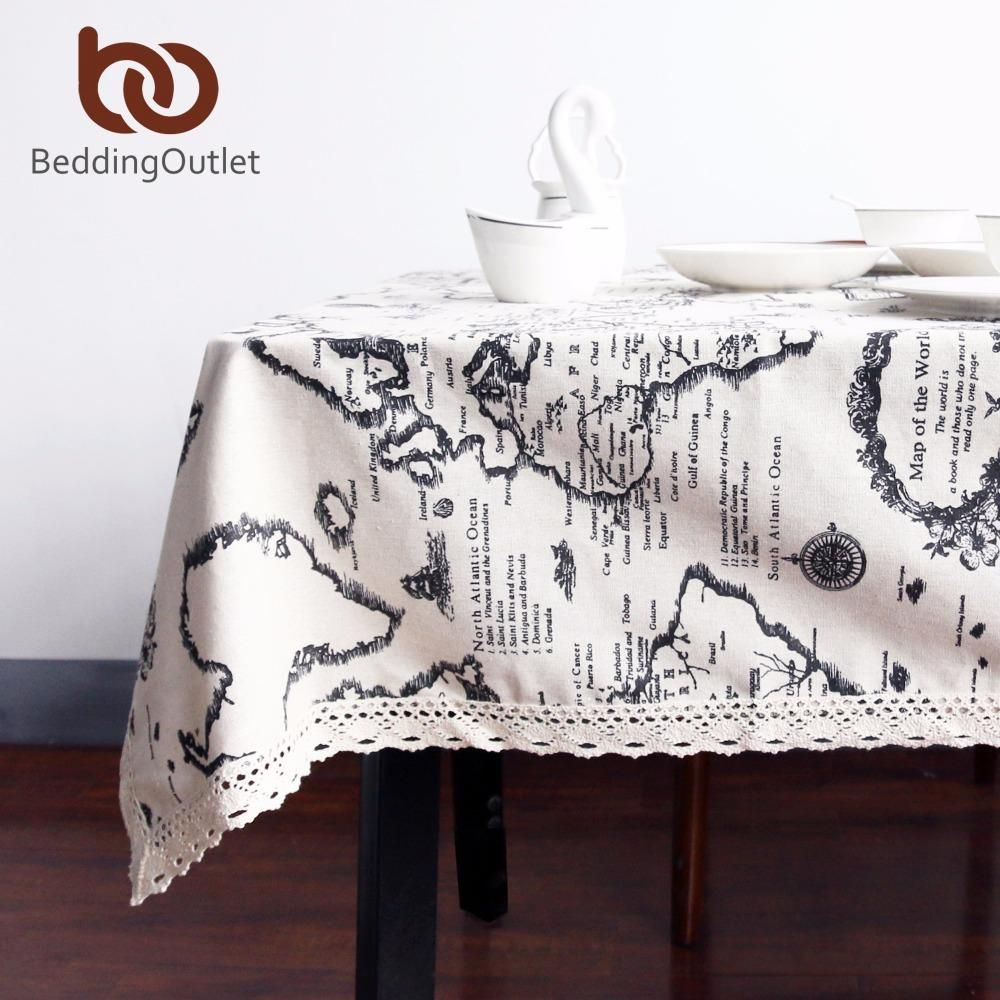BeddingOutlet World Map Tablecloth European Functional Table Cloth ...