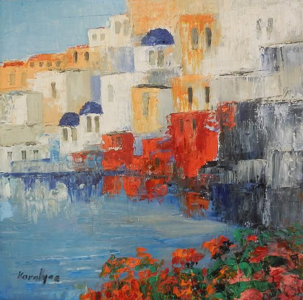 Oil on canvas reflections in santorini by maria karalyos fine art