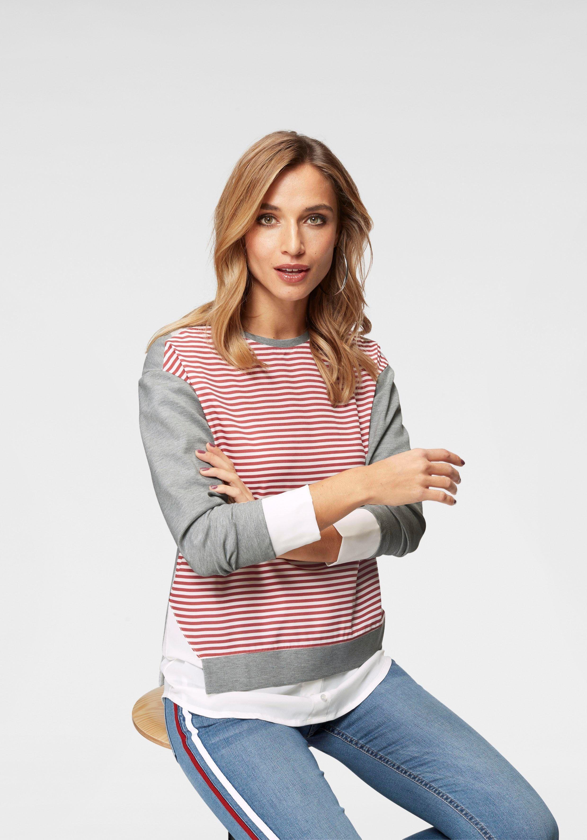 fa8ba682a1ce OTTO Damen Aniston by BAUR 2-in-1-Pullover mit Streifeneinsatz ...