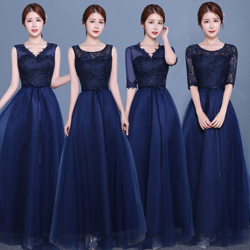 Navy bridesmaid dress with lace sleeves