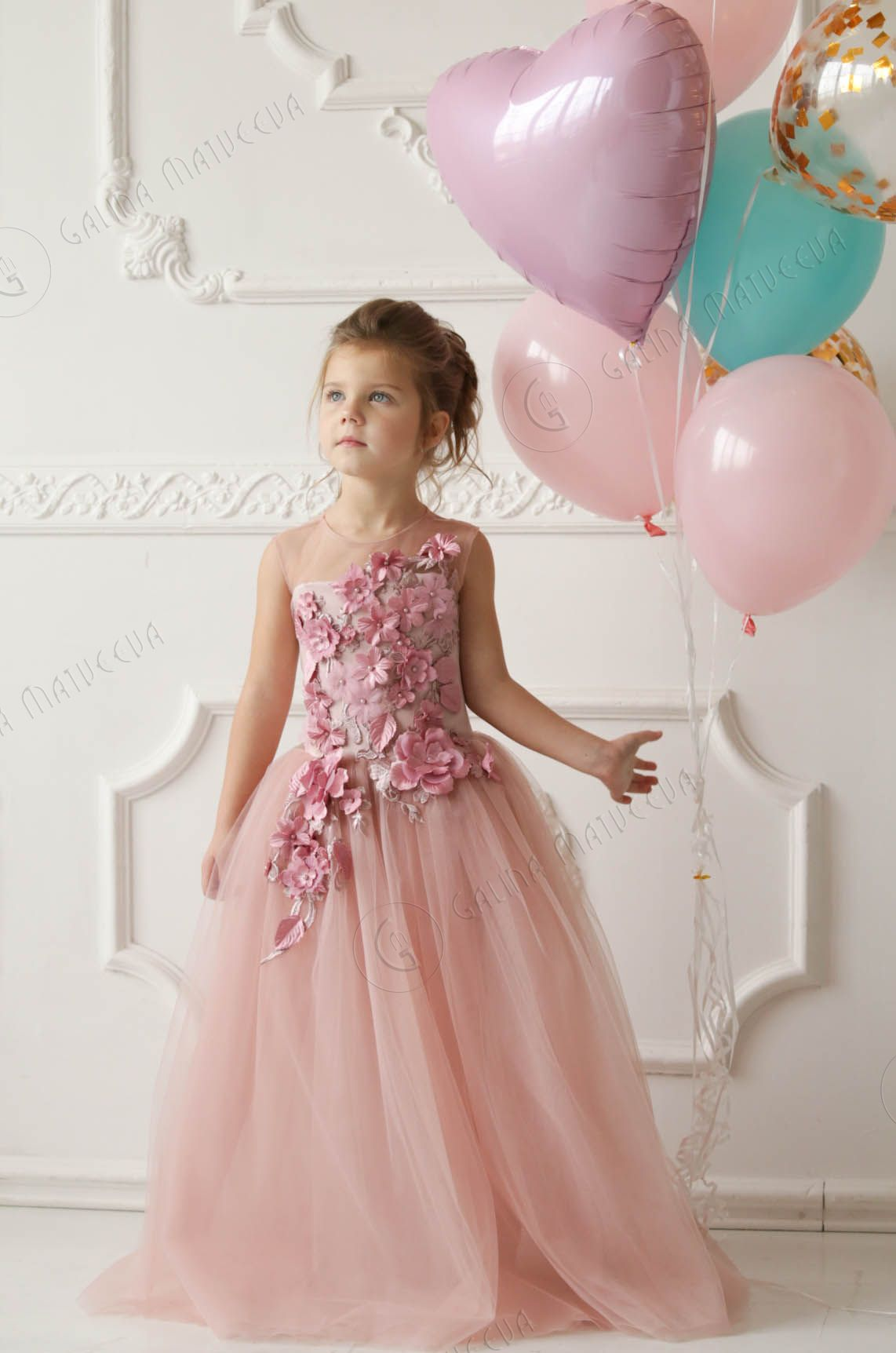 Pink Flower Girl Dress Birthday Wedding Party Bridesmaid Holiday