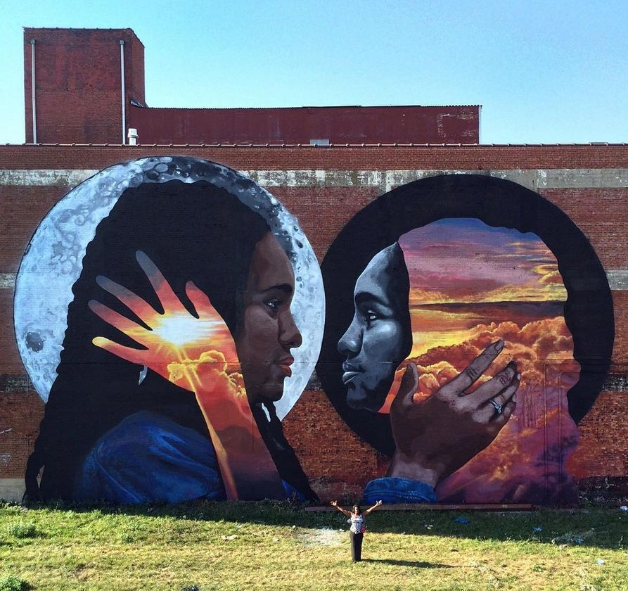"""New mural by LNY (Lunar New Year) - """"The reflective black body"""" - for the Model Neighborhood Initiative project - Newark, New Jersey - Sept 2015"""