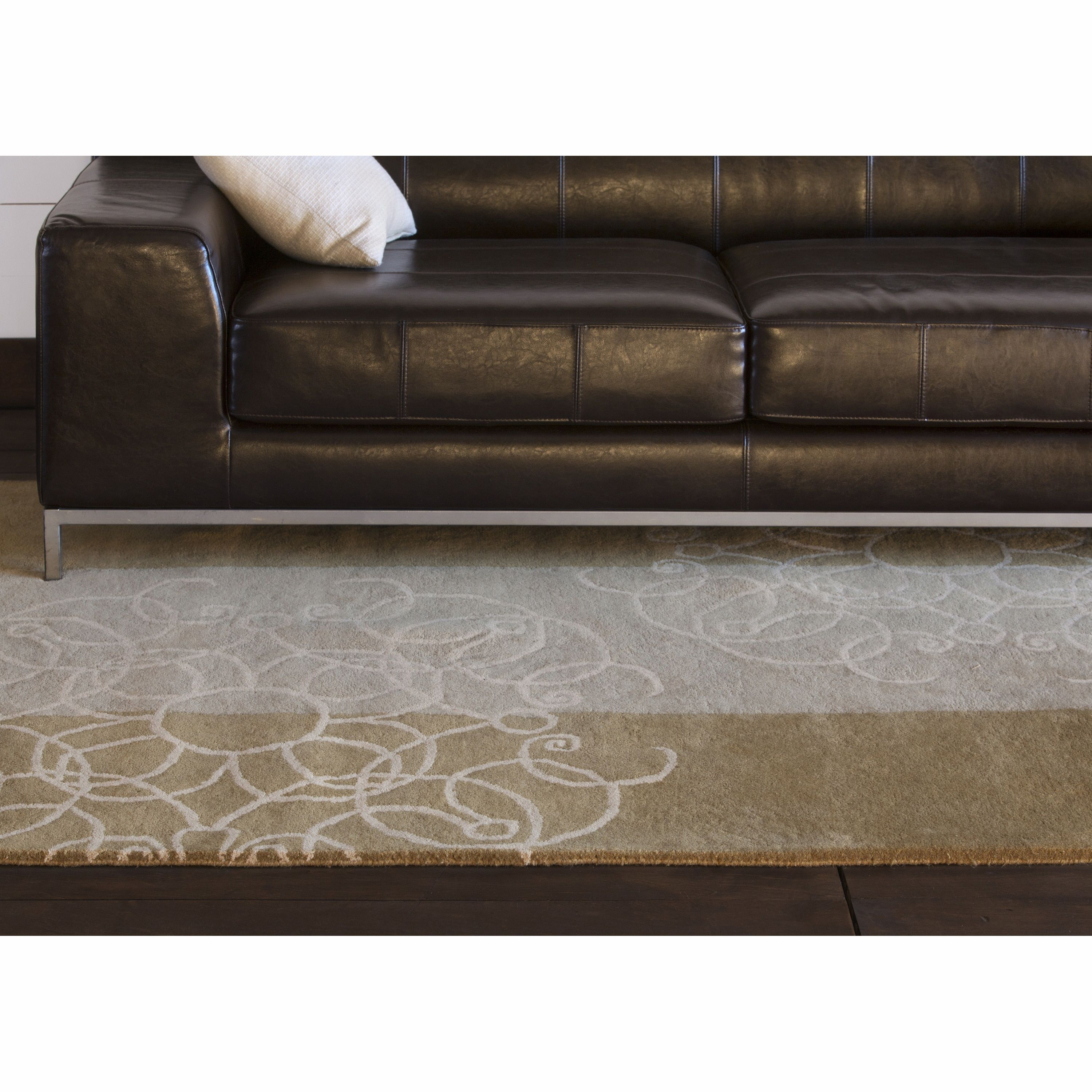 "Artist's Loom Hand-tufted Transitional Abstract Wool Rug (5'x7'6"") ((5'x7'6"")), Brown, Size 5' x 8'"