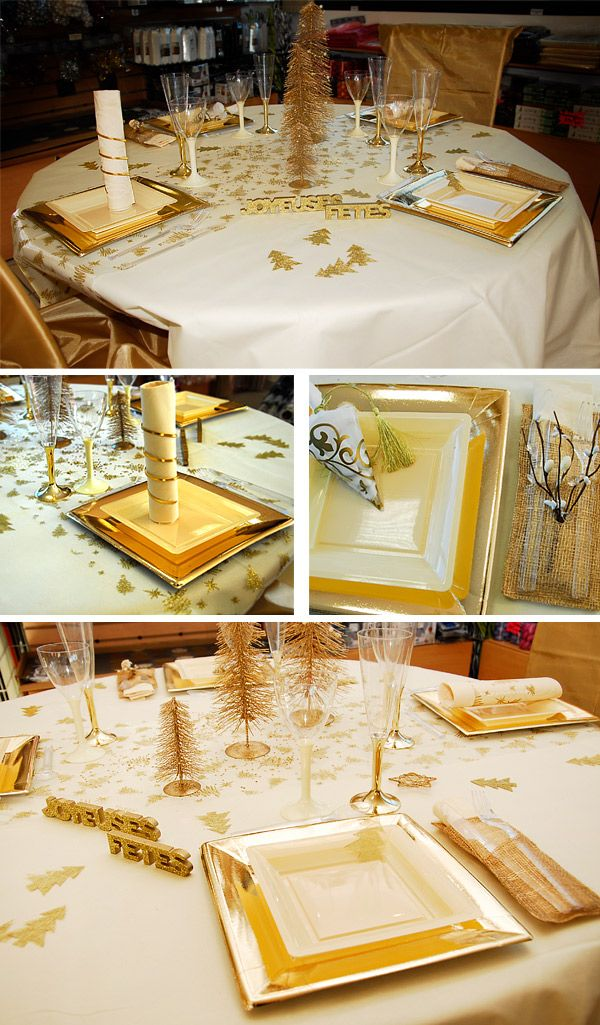 Deco de table noel blanc et or - Table noel blanc ...