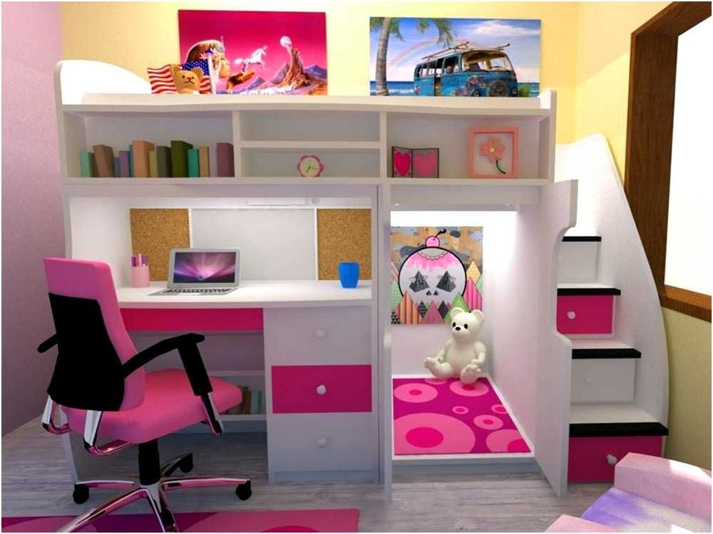girls loft bunk bed with desk underneath cute bedroom on cute girls bedroom ideas for small rooms easy and fun decorating id=76485