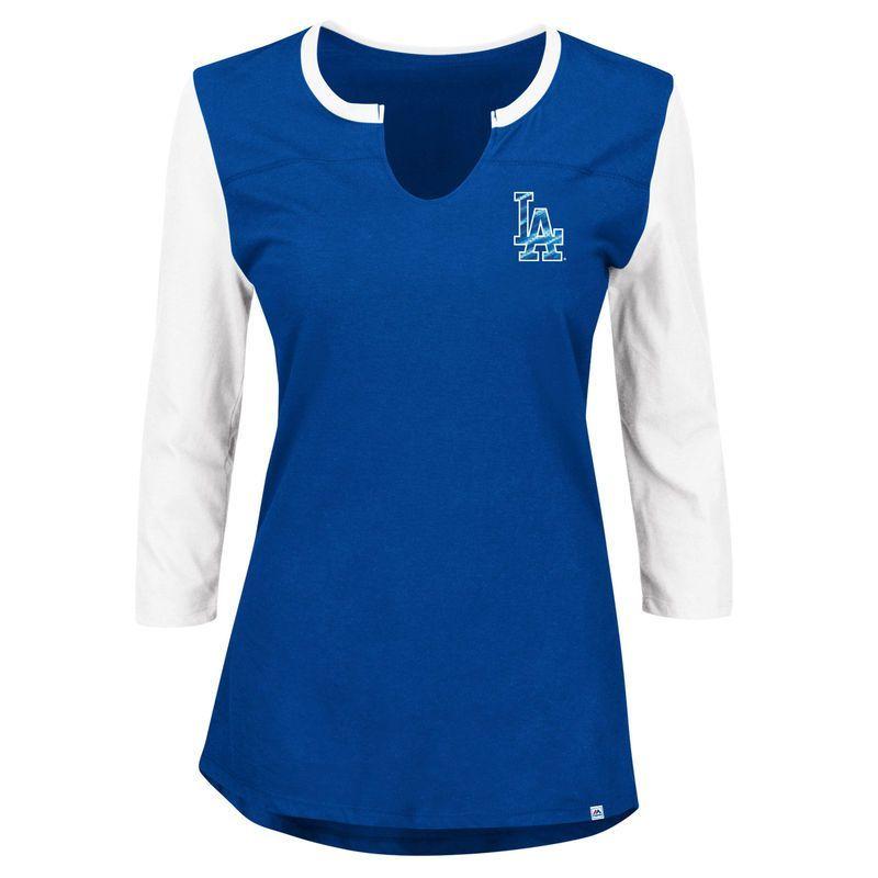 Los Angeles Dodgers Majestic Women's Plus Size Above Average 3/4-Sleeve Raglan T-Shirt - Royal/White