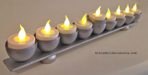 Dormenorah Menorah From Yard Stick Plastic Eggs And