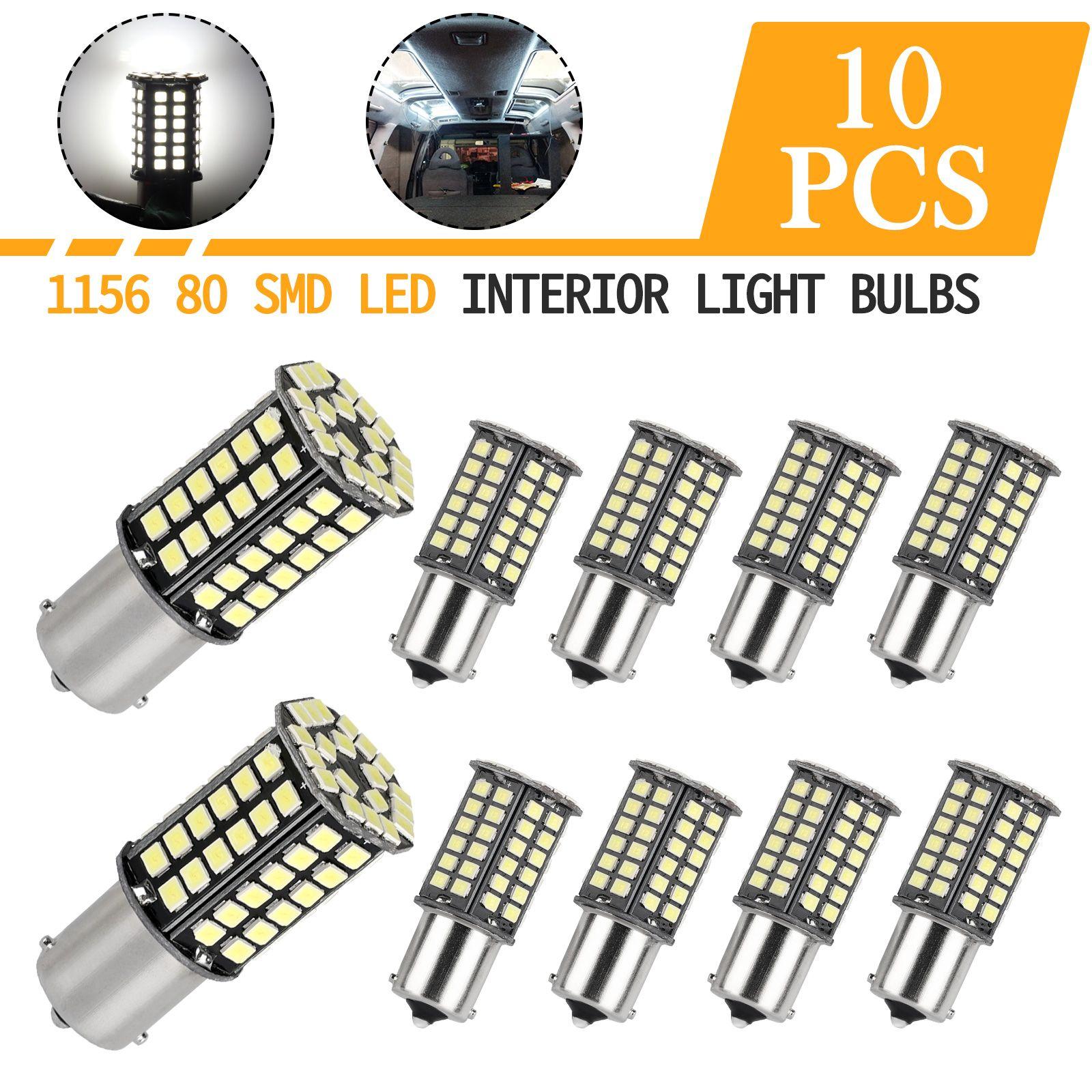 10x Pure White 1156 Ba15s 1141 1003 Rv Camper Trailer Interior 80 Led Light Bulb In 2020 Led Light Bulb Trailer Interior Bulb