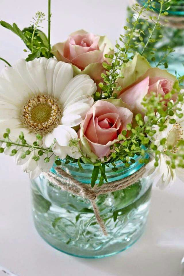 Floral arrangement, mason jar, DIY. For party, baby shower ...