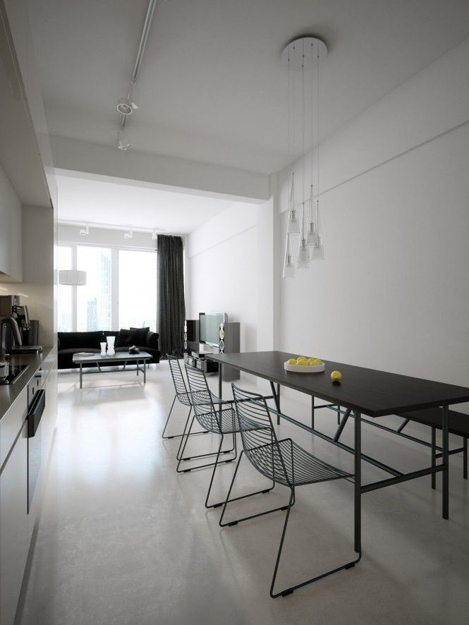 Modern Minimalist Black and White Lofts | Loft interior ...