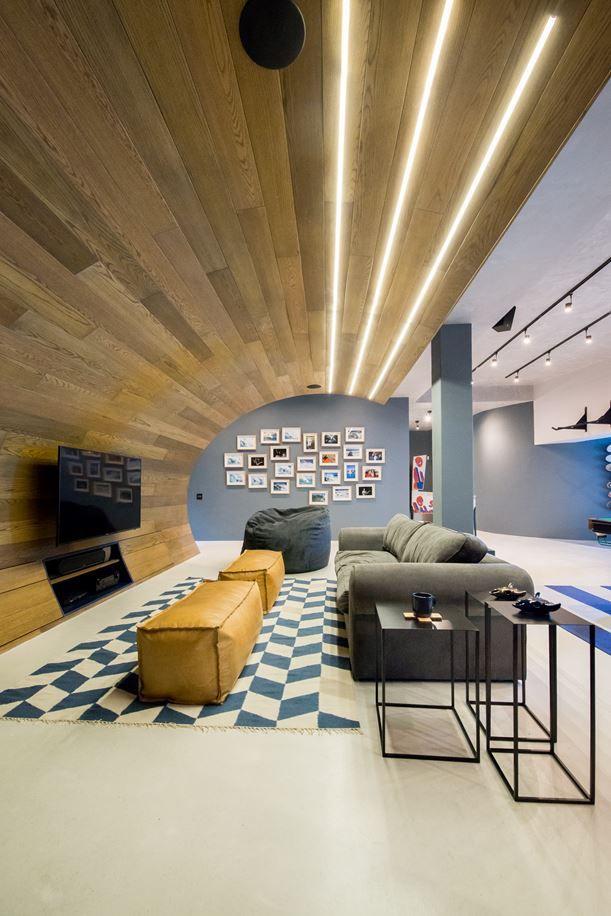 Hobbyraum Gestaltung Modern Led Lampen Decke Wand Fliesen Bodenbelag
