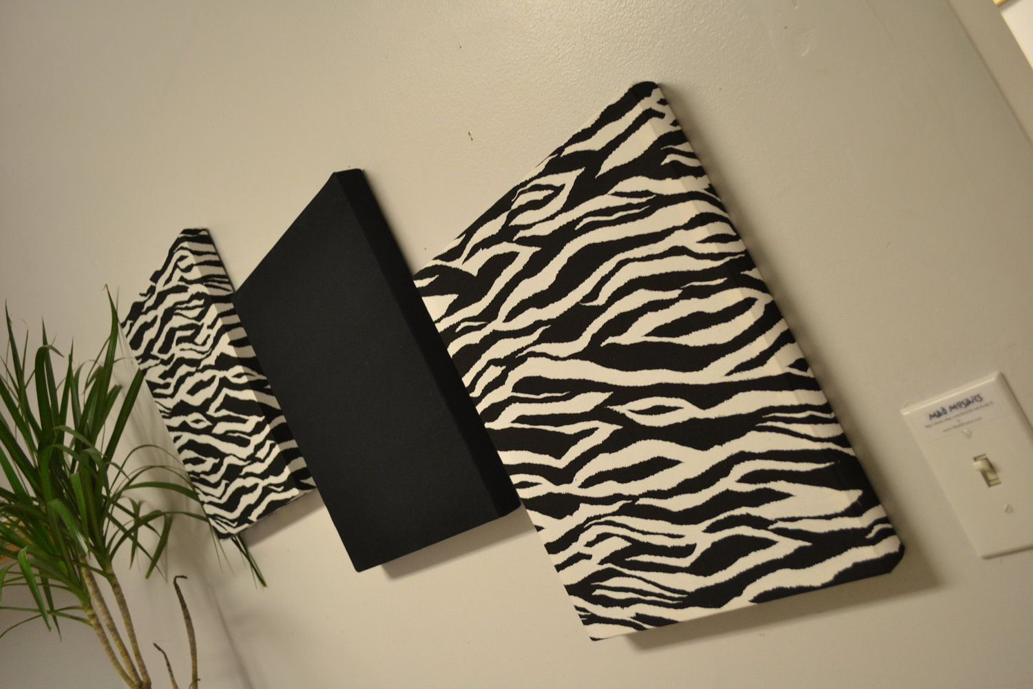 Zebra Wall Decor Canvas Hangings Black White By Madmosaics