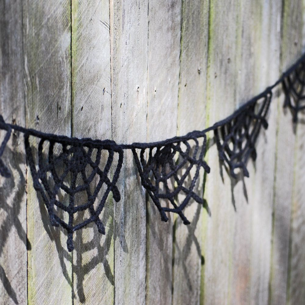 Halloween Bunting Crochet Black Spider Web Could do one with black ...