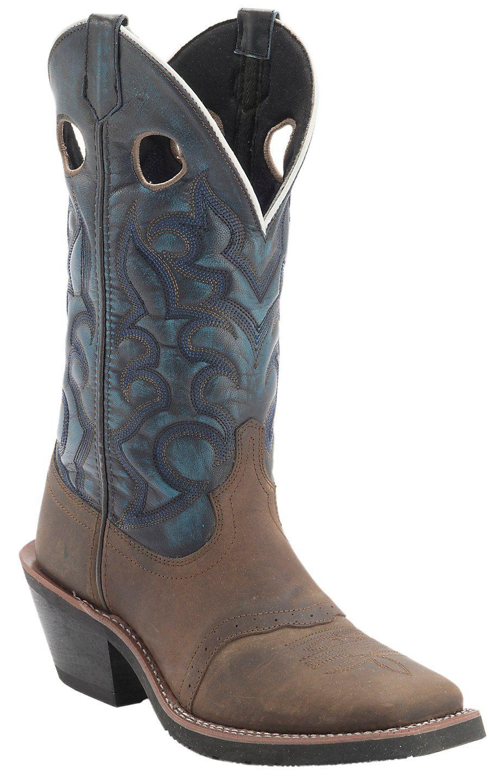 a0bf46ea099 Laredo Men's Distressed Tan w/Blue Denim Top Saddle Vamp Square Toe ...
