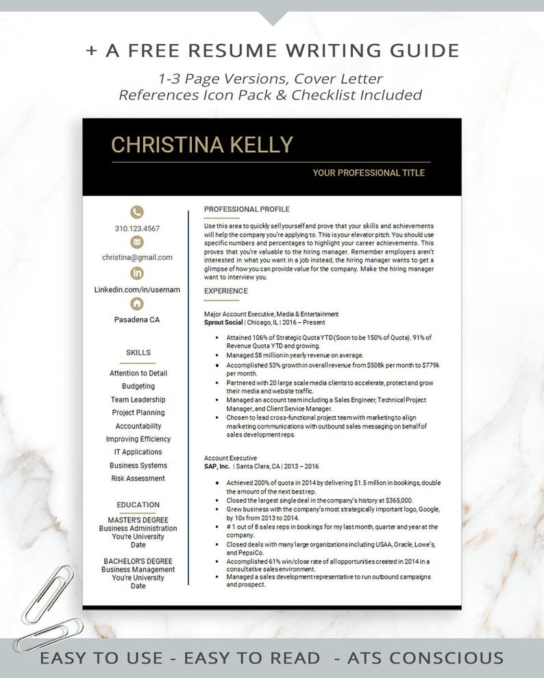 Modern Resume Template Tech Resume Template for Word IT