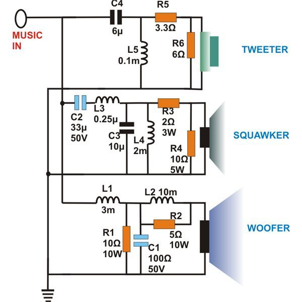 Dividing Network Diagram 3 Way Speaker Crossovers Circuit Diagram Image Dividing Network Dia Subwoofer Box Design Subwoofer Box Electronic Circuit Projects