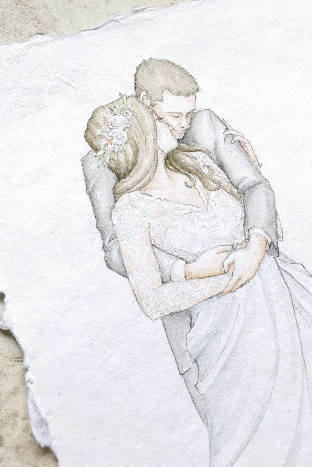 Wear your wedding dress on your anniversary  Watercolor Portraits on Handmade Paper in   Art  Pinterest